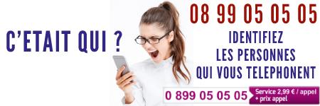 Pour Identifier les personnes qui vous téléphonent appelez le 08 99 05 05 05